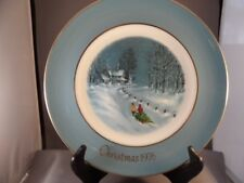 "Avon 1976 Christmas Plate ""Bringing Home The Tree"" By Enoch Wedgwood England Box"