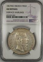 1867-MO Mexico 1 Peso Silver Coin NGC AU Details
