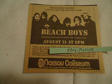The Beach Boys 1972 concert ad Nassau Coliseum Long Island Ny