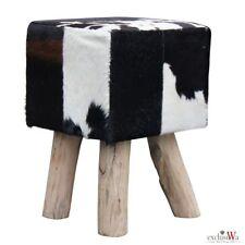 Fell-Hocker Rinderfell Holzfüße Sitzhocker ca. 30x30x45 cm Stierfell Hocker - 06