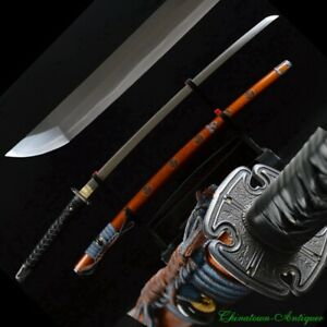 Sharp Japanese Samurai Sword Katana T10 Steel Blade Clay Tempered Sharp #2340