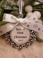Baby Bump's first 1st Christmas personalised hanging tree stocking ornament