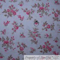BonEful Fabric FQ Cotton Quilt VTG White Wheat Pink Rose Flower Linen Print Chic