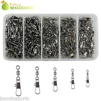 300Pcs Fishing Rolling Swivel With Interlock Snap Tackle Connector Size 2#-10#