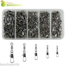 300Pcs Fishing Rolling Barrel Swivel With Interlock Snap Connectors Size 2#-10#