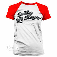 Daddy's Lil Monster Harley Quinn Suicide Squad Girl Baseball T-shirt White-red S