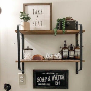 UK Large Rustic Industrial Pipe Wall Floating Shelf Wooden Storage Shelving Unit