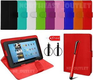 """Plain Flip PU Leather Case Cover Stand Fits 10""""/10.1"""" Inch Mikona Tablet + Pen"""