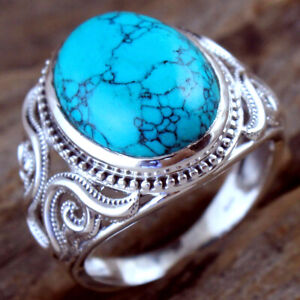 Turquoise Gemstone 925 sterling Silver Jewelry Handmade Ring Size US 7.5