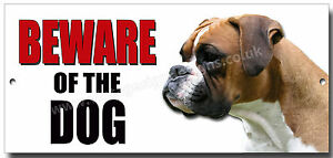 """BOXER """"BEWARE OF THE DOG"""" METAL SIGN,DOG BREEDS,SECURITY SIGN."""
