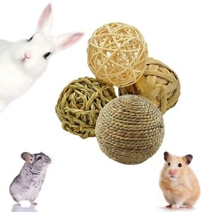 4 Pcs Pet Balls Rabbit Toys Straw Rattan Woven Chewing Ball Teeth Cleaning Toys