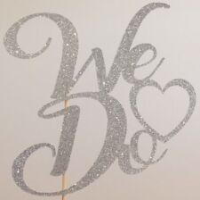 We Do Cake Topper Wedding Heart Love Vows Glitter Silver Party