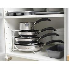 White Pan Pot Lid Rack Stand Holder Kitchen Cupboard Storage Organiser