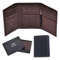 Mens Distressed Genuine Leather Trifold Wallet Purse RFID Blocking Brown Black