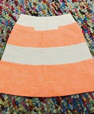CUE IN THE CITY WOMENS SKIRT LINED A LINE STRIPED COTTON BLEND ORZNGE BEIGE SZ 6