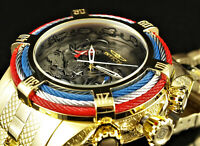 Invicta 54mm Bolt TRI Cable KOI FISH Chronograph Red Blue 18K Gold Plated Watch