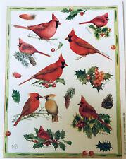 Marjolein Bastin Christmas Stickers Red Cardinal Vtg Hallmark Sheet Mint