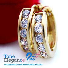 9ct 9k yellow gold gf hoop dangle men lady earrings w/ swarovski element crystal