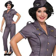 Ladies Air Force Anna WW2 Captain Aviator Pilot Military Costume Fancy Dress