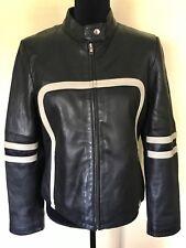 Women's Wilsons Black Leather Motorcycle Jacket Size Large MaxIma Ivory Striped