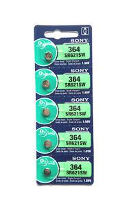 5x SONY/muRata 364, SR621SW 1.55V Silver Oxide JAPAN MADE EXP:09/2022