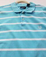 Chaps Short Sleeve Polo Shirt Men's 3XB Big Blue White Stripes Cotton Casual