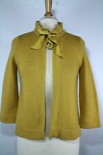 J Crew Taffeta Sash Cardigan Wool Cashmere Blend Golden Yellow S Small