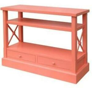 TRADE WINDS CONSOLE TRADITIONAL ANTIQUE CROSS BAR CORAL PAINTED PINK MA