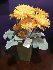 Artificial Yellow Gerbera  Flower Plant  in Green Ceramic Pot Home Decor NWT