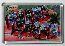 Miami Beach Fridge Magnet Vintage Travel Poster Florida Fridge Magnet