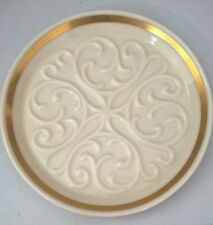 "Lenox Decorative China Plate 6.25"" Ivory Raised Scroll Design Gold Trim"