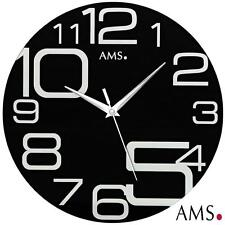 Ams 44 Wall Clock Quartz with Mineral Glass Deco Watch Office Kitchen 658