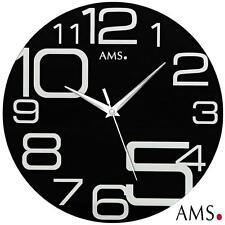 Ams 9461 Horloge murale Quartz Analogique Noir Rond moderne