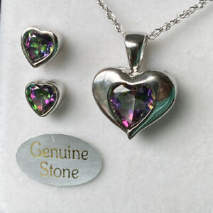 Genuine Mystic Topaz Earring & Necklace Heart Set. Sterling Silver. FREE Ship