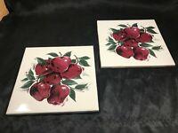 "Pair of Ceramic Apple Pattern 5"" Square Trivets"