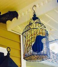 HALLOWEEN BIRD CAGE CENTERPIECE WREATH CROW SKELETON WALL HANGING PROP