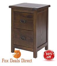 Bedside Cabinet Table Petite Small Dark Wood 2 Drawer Boston Bedroom Furniture