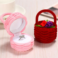 Velvet Flower Basket Ring Stud Earrings Box Jewelry Display Storage Case IDSUK