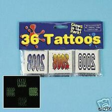2008 Glow In The Dark 12 Temporary TATTOOS Party Favors