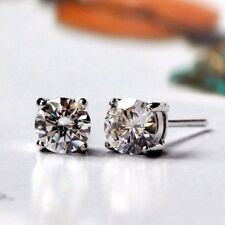 5mm AAA CZ Earrings Hand Prong Set Stud 925 Silver White Gold Plate 0.92cttw