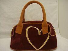 Victoria's Secret Burgundy Tan Gold Brushed Corduroy Handbag