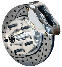 "WILWOOD DISC BRAKE KIT,FRONT,65-68 IMPALA,CHEVY,11"" DRILLED ROTORS,POLISHED CAL."