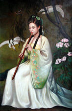 """Oil painting young Chinese ancient girl playing flute & birds flowers canvas 36"""""""