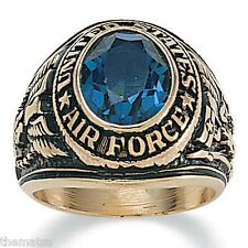 AIR FORCE  GOLD  SAPPHIRE CZ MILITARY RING ALL SIZES 9 10 11 12 13