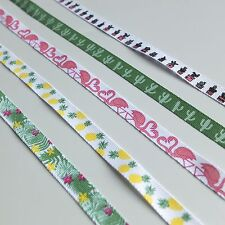 2 metres of summer printed 10mm wide grosgrain ribbon - pink green yellow white
