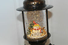 Christmas 25cm Oil Lamp Lantern Style Snow Globe Water Spinner Snowman & Deer