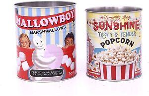Temerity Jones Vintage Style Set 2 Marshmallow Popcorn Utensil Storage Tin Cans