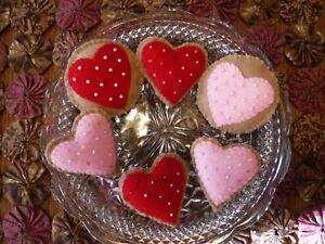 Set 6 Felt Cookie like Heart Ornies Bowl Fillers handsewn Valentine Pink Red