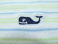 Vineyard Vines Mens Short Sleeve Pima Cotton Striped Whale Logo Polo Shirt Large