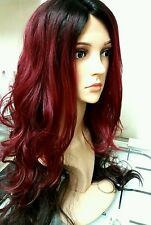 "human hair wig, blonde, red, brunette, dip dyed, lace front, real hair, 30"" long"